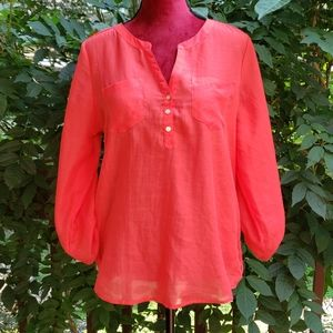 Express Coral Guazy Top With Roll Up Sleeves Sz M